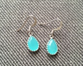 Dainty  Glass Turqoise Earrings Silver