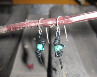 Hammered Sterling Silver Earrings With Natural Turquoise Knotted on Black Leather
