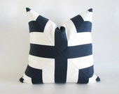 Pillow Cover Navy Blue White Mitered Cross Stripes Indoor Outdoor