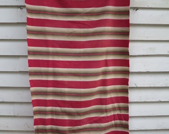 Vintage French Ticking / Wonderful Red & Green Palette / Large Piece