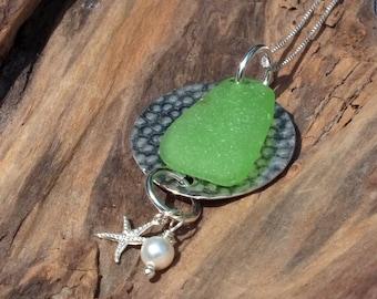 Genuine Sterling Sea Glass Necklace - Lake Erie Beach Glass Jewelry
