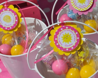 Lemonade and Sunshine Party Favor Tags - 1st Birthday Thank You Tags - You Are My Sunshine - Pink Lemonade Party Birthday Party - Set of 12