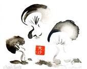 Original Sumi Painting, Mushroom Trio, forager, gift, fungi, black & white, red, brush, ink, Japanese, art, home decor, wall art, unframed