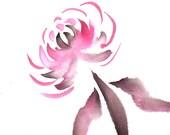 Original Sumi Painting, Chrysanthemum,flower,Asian,black & red,brush,ink,sumi watercolor,garden,autumn,unframed,wall art,home decor,gift,2D