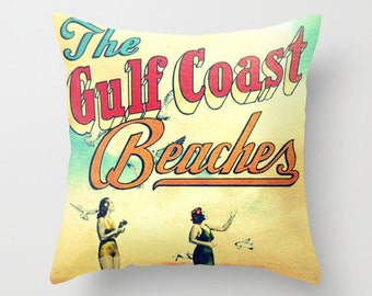 Beach House Pillow Cover 18x18, Vintage Beach Style Interior Design Coastal Art Throw Pillow, Seaside 30A Alys Beach House Artsy Pillow Aqua