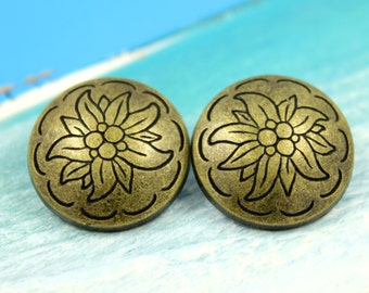Metal Buttons - Edelweiss Metal Buttons , Antique Brass Color , Domed , Shank , 0.91 inch , 10 pcs