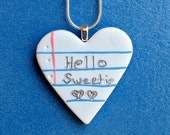 Hello Sweetie Notebook Necklace- Whovian Inspired Charm Necklace