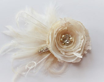 Champagne lace and Ivory Bridal Hair Flower, Flower Fascinator, Rhinestones and Pearls, Vintage flower, Lace detail, taupe