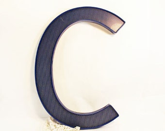 Letter C, lower case or upper case, Royal Blue Plastic