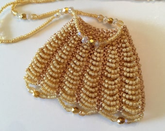 Beaded Soft Gold Amulet Bag Necklace