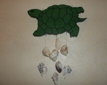 Turtle Wind Chime/Handcarved Wood with Seashells