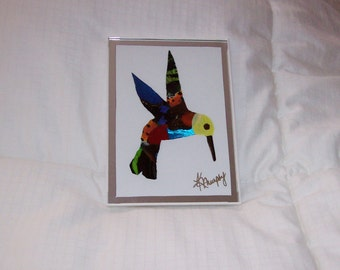 """Real Butterfly Wings  Framed """"  Hummingbird """" Collage"""