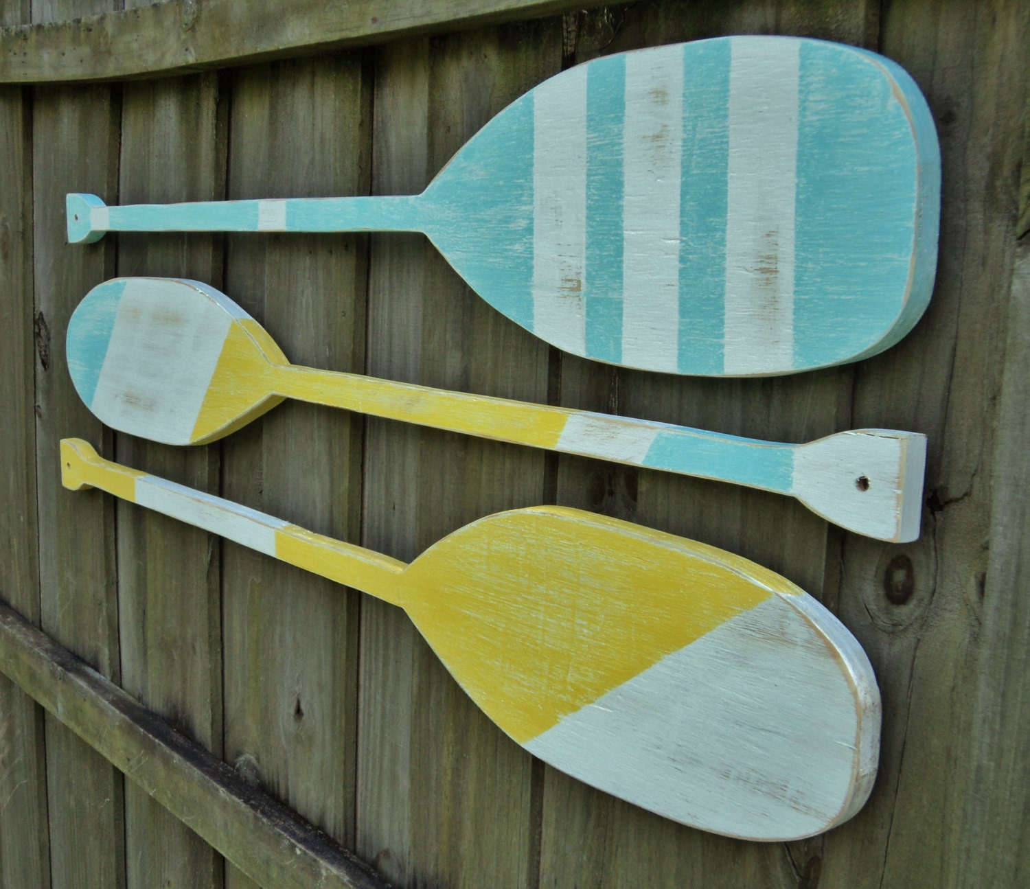 Nautical Wall Decor Oars: Set Of 3 Decorative Boat Oars Lake House Decor Nautical Wall