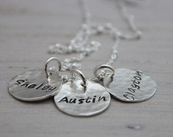 3 kids names necklace | grandmothers necklace | name tag necklace | sterling silver stamped names | mothers necklace | three kids | mom of 3