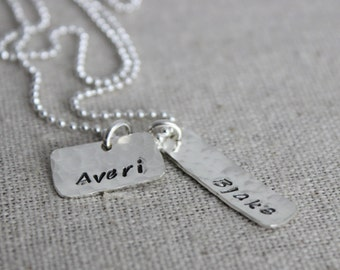 rectangle name tag necklace   2 names necklace   two names   mom of two   mothers necklace   2 children's names   2 kids names   two kids