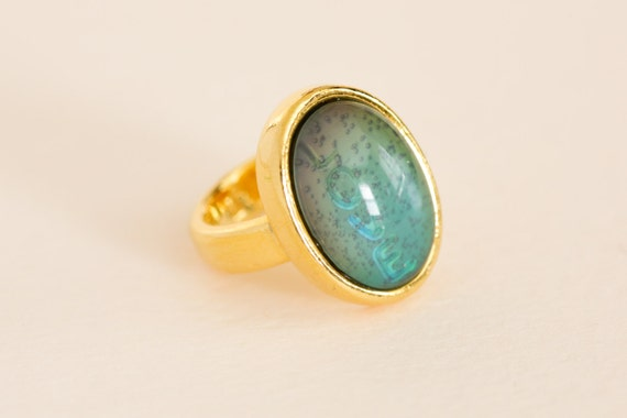 Vintage 1970 S Original Gold Tone Love Mood Ring With
