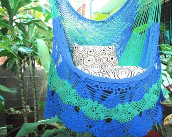 Royal Blue and Green Sitting Hammock, Hanging Chair Natural Cotton and Wood plus Presidential Fringe