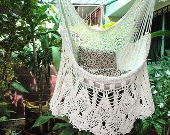 Hammock Chair, White Hammock Chair   Hanging Chair Natural Cotton And Wood  Plus Presidential Fringe