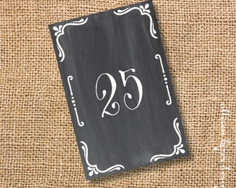 Chalkboard Printable Table Cards - Rustic Simple Wedding Reception Chalkboard Table Signs Grey and White Corporate Dinner - INSTANT DOWNLOAD