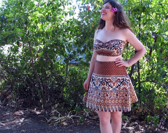 Halter top skirt Two piece COTTON  Island tiki fabric sun suit Handmade by Brightest Star Original Design M
