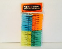 Vintage Nevco Plastic Colored Spring Clothespins NOS New in Package of 36