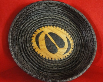 Pine Needle Basket / Brown Oval with Elk Hoof Print