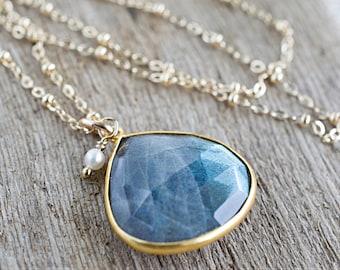 Labradorite Pendant Necklace - Gold Labradorite Bezel Necklace