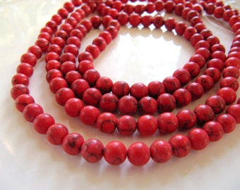 6mm Imitation TURQUOISE Beads in Red, 1 Strand, 15 Inches,  Approx 67 Pieces, Round