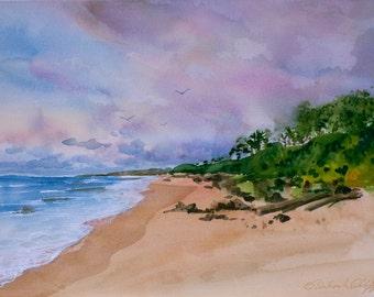 Lydgate Beach, Kauai, Watercolor Original, Seascape, Hawaiian Islands, Ocean, Clouds