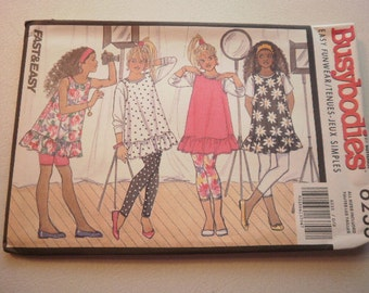 Pattern Vintage Girls Teen Top Jumper Shorts Leggings Sizes 7 to 14 Busybodies by Butterick 6233
