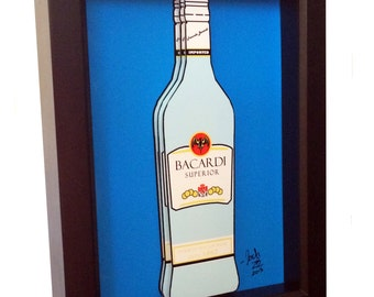Bacardi Bottle 3D Pop Art Rum Liquor Bottle Print