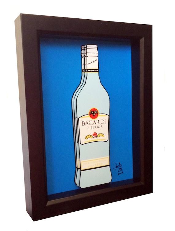 Bacardi bottle 3d pop art rum liquor bottle print for Liquor bottle art