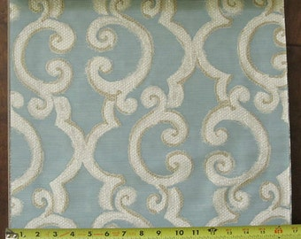 Custom Light Blue Curtains with Tan and Ivory Scroll  Pattern One Panel with lining