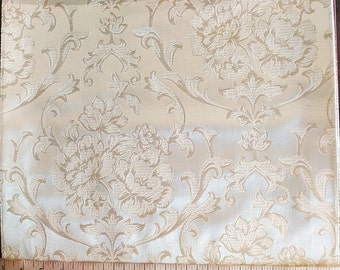 Custom Curtains Valance Roman Shade in Ivory & Beige and Silver in Damask Floral Pattern