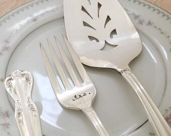 """Mr. & Mrs. vintage forks and cake server set wedding  """"daybreak"""", new hand stamped"""