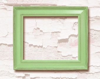 Picture Frames 8x10 Chunky Wood Frame Shabby Chic Lime Green or Custom Color Distressed Rustic Home Decor Art