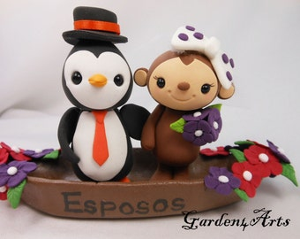 Wedding Cake Topper-- Love monkey and penguin with sweet gondola--New