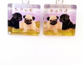 Adorable glass Pug pug puppy earrings/Original Artwork