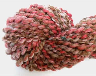 "Super Bulky Chunky Yarn Alpaca Wool Mohair Handspun  Textured  Hand Dyed 52 Yds  Brown Peach Knitting Doll Hair  "" Wavelength  """