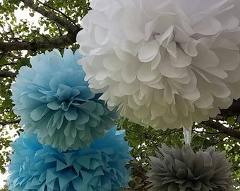 Set of 10 POMS. Party decorations, pom poms, paper pom poms. Pick your colors. Featured in Southern Living Magazine..