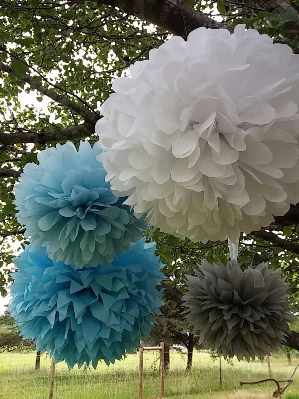 set of 10 tissue paper pom pom wedding decorations by pommagic. Black Bedroom Furniture Sets. Home Design Ideas