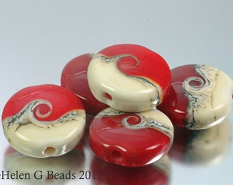 Red and Cream Coast to Coast Seaside Style Set of 5 Beads by Helen Gorick