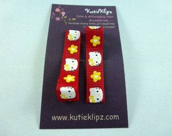 NEW...Everyday Red and Yellow M2M Kitty Printed Hair Clips - Set of 2 for...99cent Hair Accessory, Party Favor, Hairclip, Hair Bow