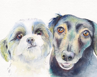 11x14 two pets CUSTOM Dog Portrait watercolor original ooak pet lover gift