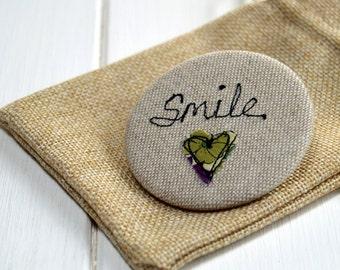 Smile Pocket Mirror - Handbag Mirror -  Purse Mirror - Bridesmaid Gift - Stocking Filler - Gift For Her - Token Gift