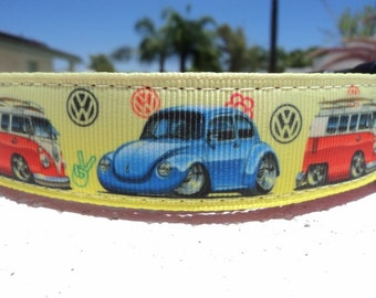 """Sale Dog Collar VW Bug & Bus Quick Release buckle or Martingale collar style 1"""" wide adjustable"""