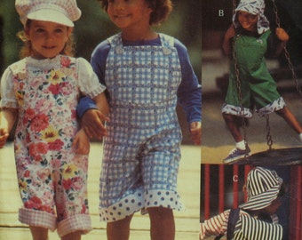 Childs Overalls Pattern, Backpack, Hat, Loose Fitting, Button Shoulders, Hat Brim, Visor, Flaps, Vogue No. 8580 UNCUT Size 2 3 4 5 6 6X