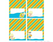 PRINTABLE Boy Pool Party Label Tents (Character of your choice) #5001