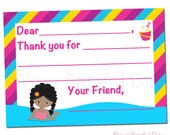 PRINTABLE Girl Pool Party Fill-in-the-Blank Thank You Cards #5001