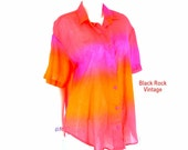 Oversized Shirt Ombre, Bright Coral Pink Orange, Vintage 1970s, Size Medium